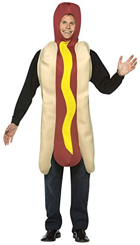 UHC Men's Hot Dog Funny Comical Theme Party Adult Halloween Costume, OS (Hot Male Superhero Costumes)