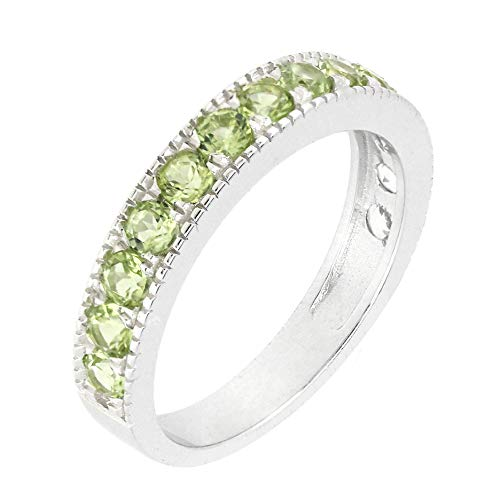 BL Jewelry Sterling Silver Round Genuine Natural Gemstone Stackable Half Eternity Band Ring Peridot (10, Peridot) ()
