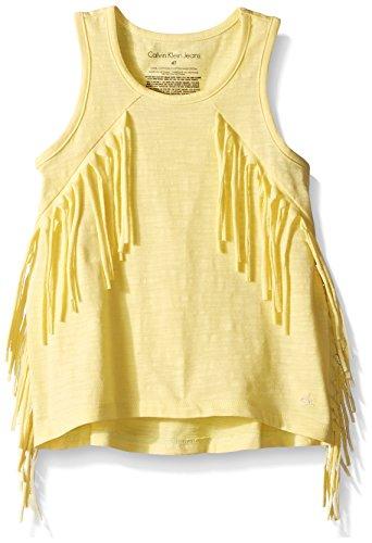 Calvin Klein Little Girls' Solid Fringe Tank, Yellow Heather, (Fringe Cami)