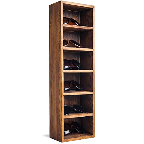 MyGift Burnt Wood Tabletop or Wall-Mounted 6-Slot Sunglasses & Eyewear Display Case ()