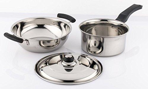 Mahavir Enterprises Stainless Steel Induction Lpg Compatible Cookware Set, 21 cm x 21 cm x 6 cm, 3 Piece 3MESPKD