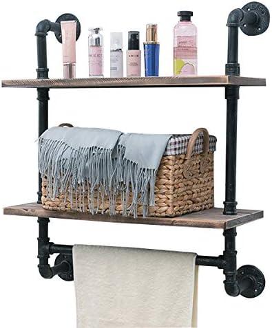 Industrial Pipe Shelf,Rustic Wall Shelf with Towel Bar,24 Towel Racks for Bathroom,2 Tiered Pipe Shelves Wood Shelf Shelving