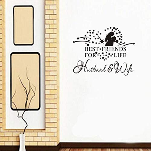 Anglewings Peel and Stick Removable Wall Stickers Best Friends for Life Husband & Wife for Bedroom Living Room -