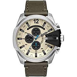 Diesel Mega Chief – Men's Chronograph Watch with Stainless-Steel case and Olive Leather Strap – DZ4464