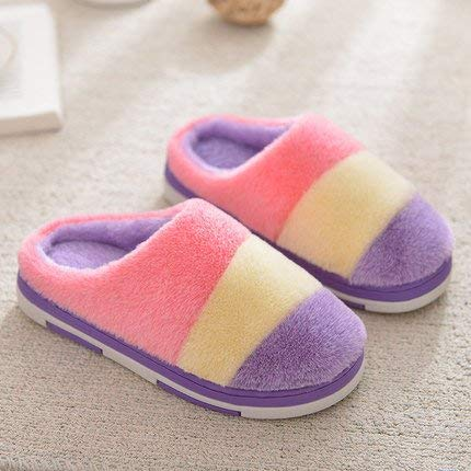 1 Lady Slippers Womens Autumn Winter Lady Cotton Slippers Stripe Patchwork color Warm Slip-Proof Shock-Absorbing Casual Daily Stylish Ladies Home Slippers
