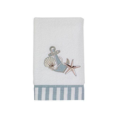 Avanti Linens Anchors and Shells Hand Towel, White
