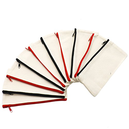 IDS 10Pcs Multi-purpose Cotton Canvas Zipper Invoice Bill Bag Pen Pencil Cosmetic Makeup Bag Pouch Blank DIY Craft Bag by IDS