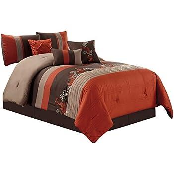 Amazon Com Modern 7 Piece Oversize Orange Brown White
