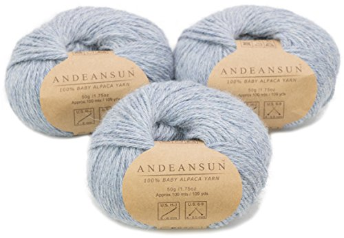 - 100% Baby Alpaca Yarn Skeins - Set of 3 - Various Colors - AndeanSun - Luxuriously Soft for Knitting, Crocheting - Great for Baby Garments, Scarves, Hats, and Craft Projects (Silver Light Blue (#4))