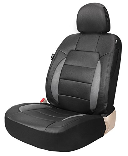 Grey Bucket Seat Covers - Platinum Vinyl Universal One Faux Leather Front Seat Cover for Car Trucks SUV with Airbag Black/Grey