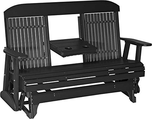 Furniture Barn USA Outdoor 5 Foot High Back Glider - Black Poly Lumber - Recycled Plastic