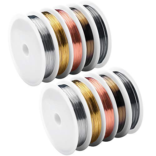 Copper Wire for Jewelry Making 26Gauge, Artistic Craft Wire 10 Pack 5 Colors ()
