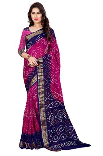 Bandhni saree ( Nirja Creation Fancy Designer Partywear Bandhni saree ) (Pink)
