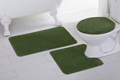 Fancy Linen 3pc Non-Slip Bath Mat Set Solid Olive Green Bathroom U-Shaped Contour Rug, Mat and Toilet Lid Cover