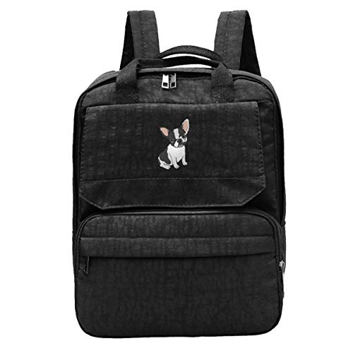 Black And White Frenchie Women Travel Backpack Adjustable Shoulders Bags For Camping