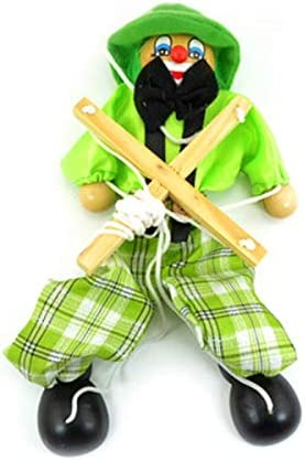 Akita Electronics 25cm Funny Colorful Pull String Puppet Clown Wooden Handcraft Classic Toy Joint Activity Doll Kids Children Gifts-  50% - Clip Board - Lap Desk Kids -Green