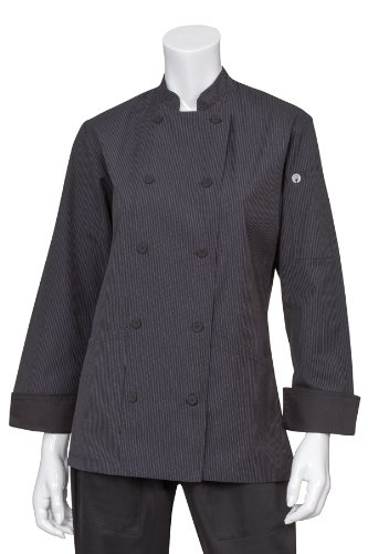 Chef Works Women's Carlisle Executive Chef Coat, Fine Stripe, Large by Chef Works