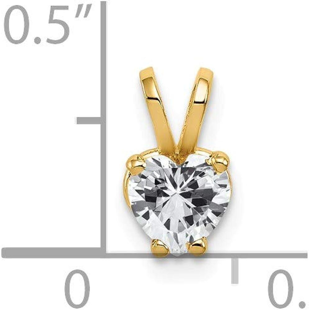 9mm x 6mm Solid 14k Yellow Gold 5mm Heart Cubic Zirconia CZ Pendant Charm