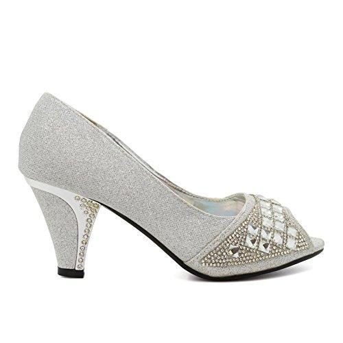 London Peep Silver toe Donna Footwear qrrwxXPaH