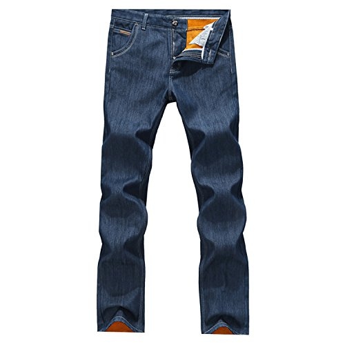 VOYAGEA Winter male taxi thick velvet trousers warm blue jeans Slim trousers (33W, blue)