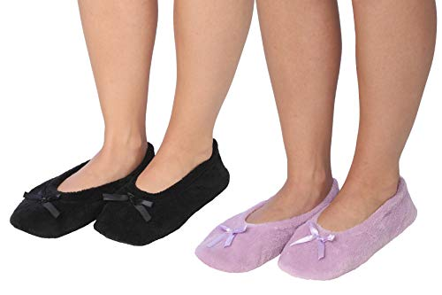Roxoni Women's Terry Classic Cotton Ballerina Slippers (Pack of 2)