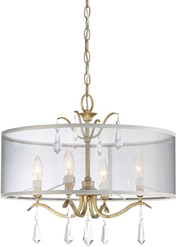Minka Lavery Semi Flush Mount Ceiling Light 4443-582 Laurel Estate Lighting Fixture, 4-Light 240 Watts, Brio Gold