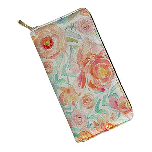 Multi-pocket Womens Wallet Pu Leather Long Purse Fashion Floral Rose Shopping Traveling Handle Cash Pouch -