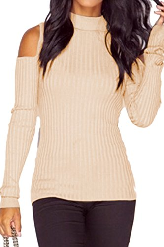 YMING Women's Cut Out Long Sleeve Sweater Cold Shoulder Knit Jumper Top Pullovers Beige S