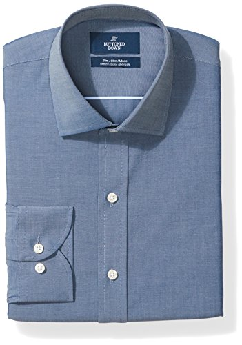 BUTTONED DOWN Men's Slim Fit Stretch Poplin Non-Iron Dress Shirt, Denim Blue, 16.5