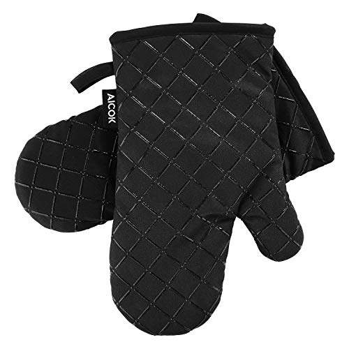 AICOK Oven Mitts, Heat Resistant Oven Gloves, Non-Slip Cooking Gloves, for BBQ, Baking, Barbecue Potholder, Black by AICOK (Image #5)