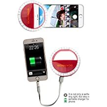 Cozytek Selfie Ring Light For iPhone Circle Light,36 LED Selfie Fill Light with 1500mAh Power Bank External Cell Phone Battery Pack For iPhone 7 Plus/7/iPhone 6s/6/Samsung Galaxy S7/S6 Edge/S6(Red)