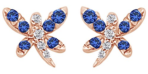 Round Cut Simulated Blue Sapphire With Natural Diamond Dragonfly Stud Earrings In 14K Solid Rose (Dragonfly Sapphire Earrings)