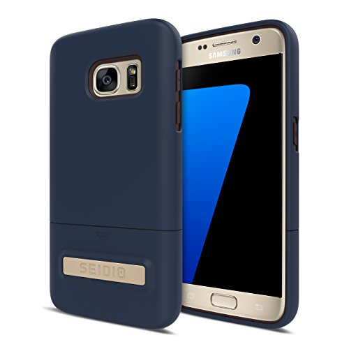 Seidio SURFACE with Metal Kickstand Case for Samsung Galaxy S7 [Slim Case] - Non-Retail Packaging - Midnight Blue/Chocolate...