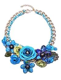 Womens Vintage Purple Flower Statement Necklace Pendant Cheap Bubble Bib Chain Chunky Pendant Jewelry
