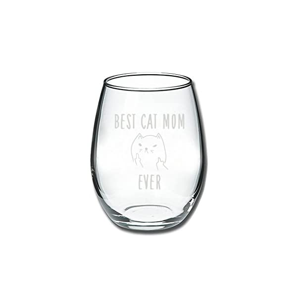 Best Cat Mom Ever Funny Wine Glass 15oz Unique Christmas Gift Idea For Lovers Perfect Birthday Gifts Women Rude Sarcastic Meme Cup