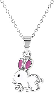 925 Sterling Silver White and Pink Enamel Bunny Necklace Pendant for Girls 16&