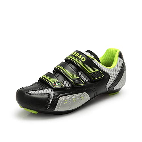 Tiebao Road Cycling Carbon Reinforced Bicycle Bike Shoes SPD SL Look Nylon-fibreglass Spin Air-Mesh Sneaker Style with Buckle Men Women Road Cycling Shoes Footwear