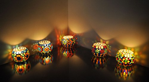 Lalhaveli Mosaic Glass Candle Holders Centerpiece Set Of 5 Pcs 3 (Stained Glass Christmas Candles)