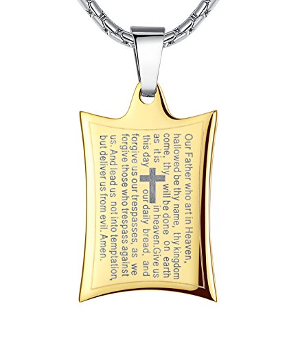 Stainless Steel Lord's Prayer and Cross Pendant Necklace, Unisex, 21