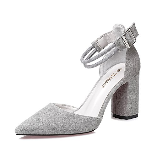 Ranuradas Fijaciones Negros Negrita Eu34 Solo Zapatos Mujer Sandalias Baotou Zapatos Señaló High Heeled EU34 Zapatos con SHOESHAOGE d5H0w65