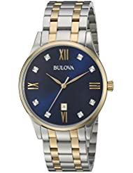 Bulova Mens Quartz Stainless Steel Dress Watch, Color: Two Tone (Model: 98D130)