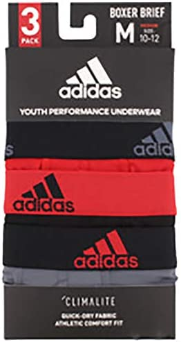 3-Pack adidas Youth Kids-Boys Performance Boxer Briefs Underwear Scarlet//Black Black//Scarlet Onix//Black X-LARGE