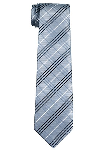 Retreez Tartan Plaid Styles Woven Boy's Tie (8-10 years) - Grey