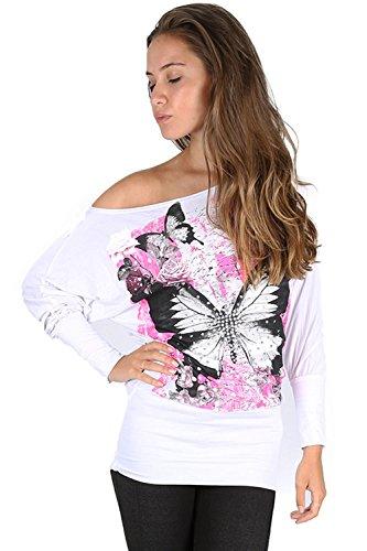 Oops Outlet Femmes Roses Papillons Fleurs Paillette Clou imprimé Surdimensionné / Ample Épaules Apparentes Bardot Robe Haut Grande Taille UK 8-22 - Blanc, Grande taille 2XL (EU 48/50)