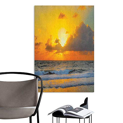 Wall Paintings self-Adhesive Ocean Morning at The Beach in Brazil The Sun Rays Through The Clouds Over Sea Sunset Image Orange Gray Bedroom Bedside Wall W24 x -