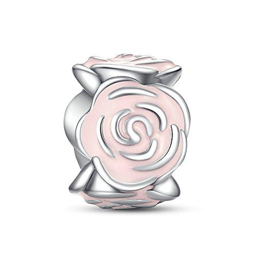 Enamel Garden - Everbling Blooming Rose Flower with You in Heart Dangle 925 Sterling Silver Bead for European Charm Bracelet (Rose Garden with Pink Enamel)
