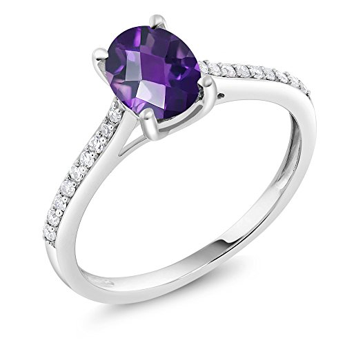Diamond Engagement Solitaire Ring set with 8x6mm Checkerboard Amethyst 1.10 ct (10k Gold Pave Set)