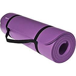 AmazonBasics 1/2-Inch Extra Thick Exercise Mat with Carrying Strap, Purple