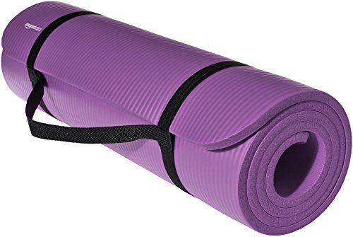 AmazonBasics 1/2-Inch Extra Thick Exercise Mat with Carrying Strap, Purple For Sale