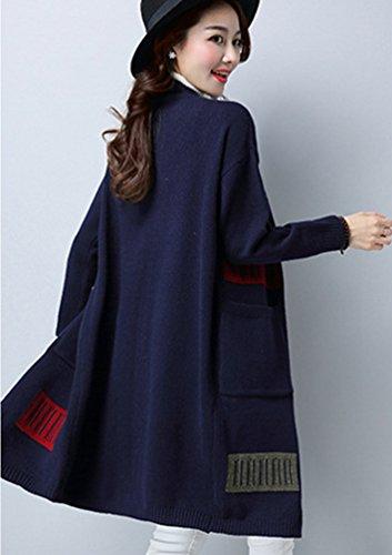 Aperto Davanti Maglia Lungo Giacca Militare Cappotto Maglione Cardigan Marina Donna Sweater Tops Sciolto Chengyang RXTqYq